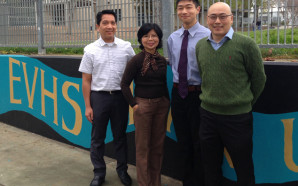 Anton Cao with his Evergreen Valley High School math teachers.