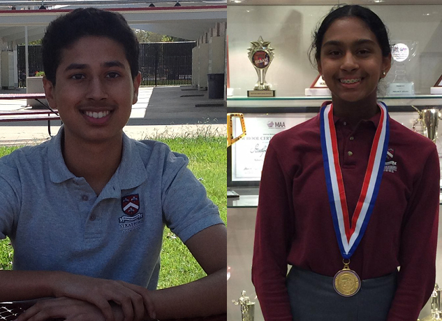 Shreya Ramachandran and Aalok Patwa are finalists in the Sixth Annual Middle School STEM Competition