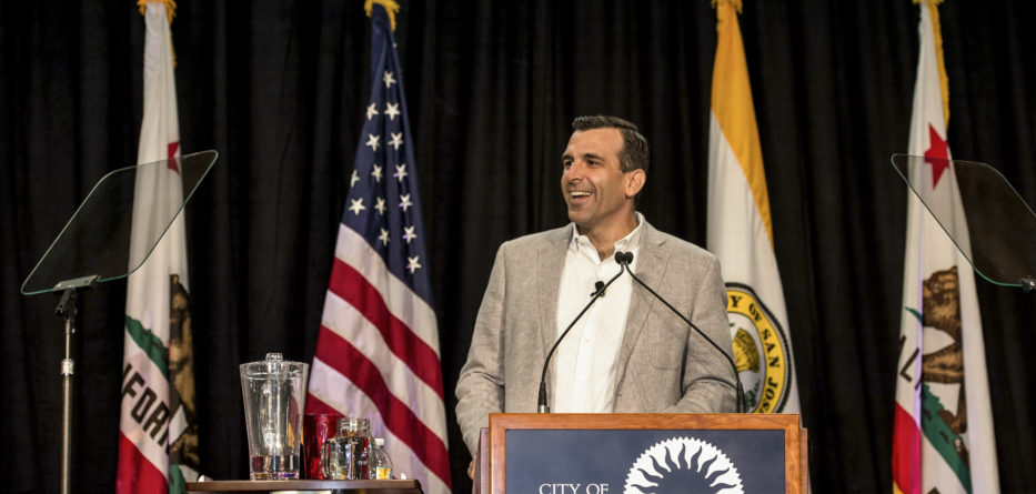 On February 11th, 2016 Mayor Sam Liccardo unveiled plans for protection for immigrants, beautifying the city and an appeal to all residents to pitch in a the 3rd State of the City Address. Photo Credit: Office of Mayor Sam Liccardo