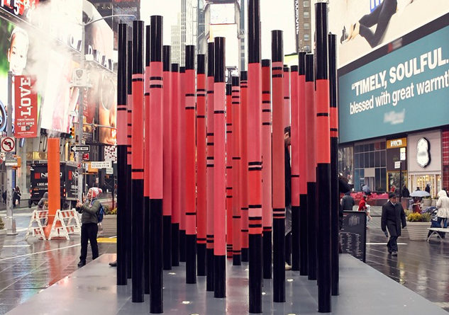 Photo Courtesy: Immigration-Themed Valentine's Day Heart Erected in Times Square © Justin Bettman for @TSqArts