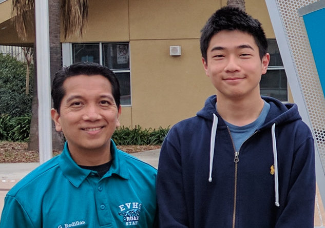 Photo of Anton Cao with his Calculus BC math teacher, Mr. Garry Redillas.  Photo Credit: ESUHSD
