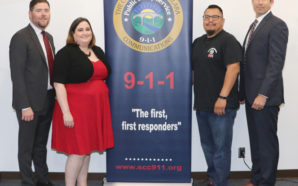 (Group photo from left to right): Jason Bivens, County Communications Director; Brie Silva, Dispatcher of the Year; Pedro Yanez, Dispatcher of the Year; and James King, County Communications Deputy Director. Photo Credit: County Communications