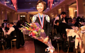 Veronica Tsang of Cathay Bank in the Ellis Island Gallery after being presented with the 2017 Ellis Island Medal of Honor. Photo Credit: Cathay Bank