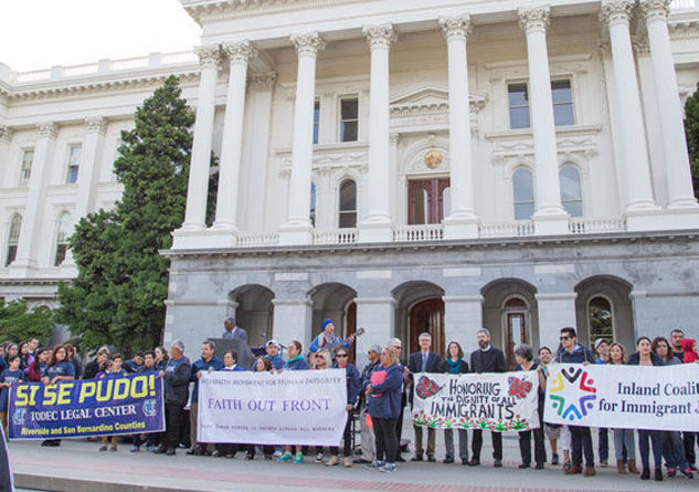 Protestors last year gathered for the 20th annual Immigration Policy Day, formed in the wake of Prop. 187 in 1996. Photo Credit: Calif. Immigrant Policy Ctr.