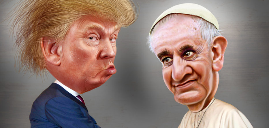 At their Vatican meeting in late May, Pope Francis gave U.S. President Donald Trump a copy of the 2015 papal encyclical calling for urgent, drastic fossil fuel emissions cuts to stave off climate change. Credit: DonkeyHotey, FlickrCC.