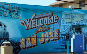 The very teal and very 'San Jose' mural is in limbo as Google announces it will build in the downtown area. Photo Credit: Mauricio Rodriguez/Todd Miller