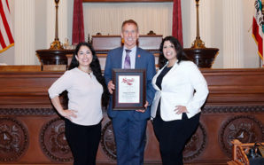 Rosemary Vergara and Jazlyn Carvajal of Latinas in STEM join Senator Bob Wieckowski on the Senate floor. Photo Credit: California Senate