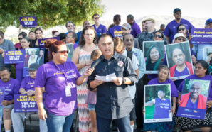 Workers in Moreno Valley rallied Wednesday in favor of a bill that would mandate minimum staffing levels at dialysis clinics. Photo Credit: SEIU