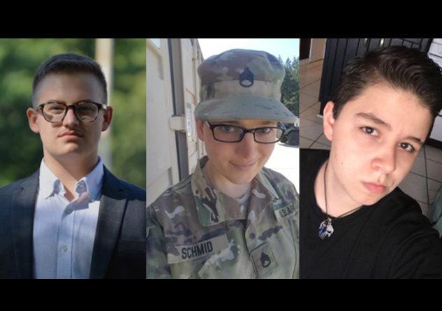"Ryan Karnoski, S/Sgt. Cathrine ""Katie"" Schmid and Drew Layne are the plaintiffs in the suit. Photo Credit: Lambda Legal"
