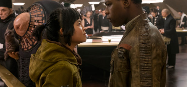 """Rose Tico (Kelly Marie Tran) and Finn (John Boyega) must help the Resistance prevail against the villainous First Order in """"Star Wars: The Last Jedi"""". Photo Credit: Disney/Lucasfilm"""