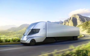 Tesla's forthcoming all-electric Semi tractor-trailer can go upwards of 300 miles between charges and is expected to offer the lowest energy cost per mile of any big rig on the road. Photo Credit: Tesla