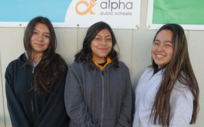 Students Yami Penaloza, Iris Valenzuela, and Tyena Lugo. Photo Credit: Alpha Public Schools