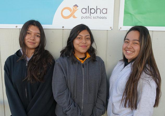 Students Yami Penaloza, Iris Valenzuela, and Tyena Lugo. Photo Credit: Alpha Public Schools